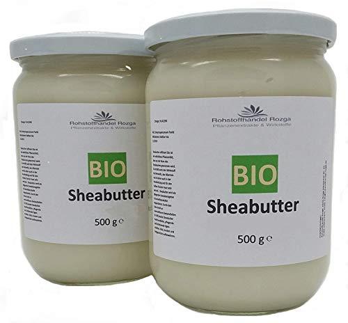 (14,80/kg) Sheabutter BIO 1 kg (2x 500 g Glas!) Shea Butter 100% rein Top Qualität Karitebutter parfümfrei & vegan -