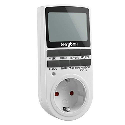 Zeitschaltuhr Jerrybox Zeitschaltuhr Digital Timer Steckdose mit Kindersicherung und Zufallsschaltung, Großes LCD Display, 10 Konfigurierbare Schaltprogramme, 4 Stunden / 7 Tage Timer, 12 / 24h-Modus