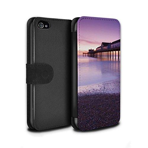 Stuff4 Coque/Etui/Housse Cuir PU Case/Cover pour Apple iPhone 4/4S / Pavillon Théâtre Design / Bord Mer Anglaise Collection Jetée