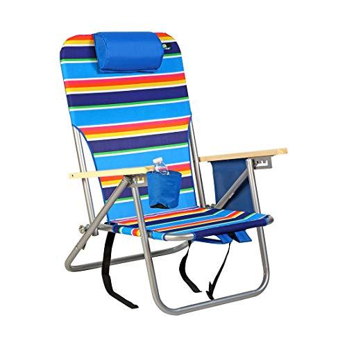 BeachMall Deluxe Rucksack mit 4 Positionen, leicht, tragbar, zusammenklappbar, Stahl, mit Getränkehalter für Strand und Camping, 992 (Rucksack Rio Stuhl)