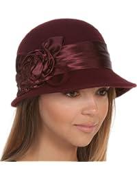 Sakkas Femmes Vintage Style 100% Laine Cloche Bucket le chapeau d'hiver avec Satin Accent Fleur (6 couleurs)