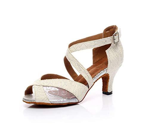 Damen Peep Toe High Heel Satin Floral Salsa Tango Ballsaal Latin Ankle Wrap Tanzsandalen, Silber-Absatz 6cm-UK2.5 / EU32 / Our33 Floral Peep-toe-heels