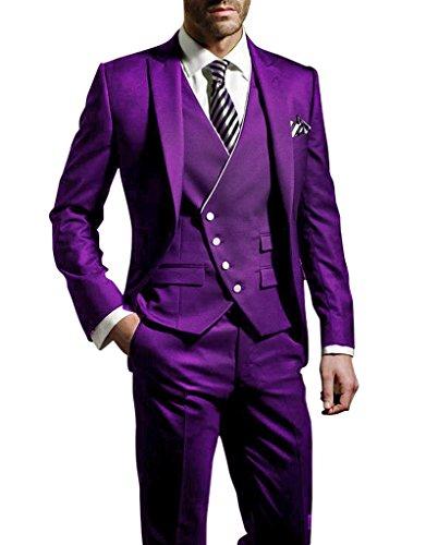 Suit Me Herren 3-Teilig Anzug Slim Fit Hochzeiten Party Smoking Anzuege Sakko,Weste,Hose Violett
