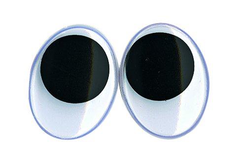 Rayher Hobby 8919500 Plastik-Wackelaugen zum Kleben, SB-Beutel 10 Stück, oval, Durchmesser 20 mm, schwarz/weiß