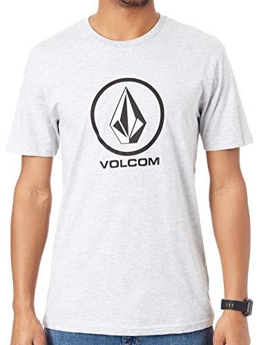 Volcom Herren Crisp Stone BSC S/S T-Shirt, Heather Grey, S - Großer Mann Crewneck T-shirt