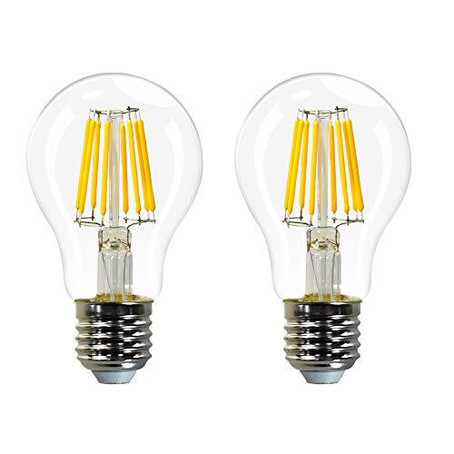 Lamparas Bombillas Globo de LED Filamento E27 Edison Decorativas 8W con Vidrio Transparente Iluminacion Luz Calida 2700K Pack de 2 de Enuotek