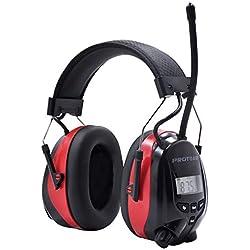 Cache-oreilles électriques avec Bluetooth, radio numérique FM / AM et microphone intégré, écouteurs à réduction de bruit Rechargeable Protear pour le travail et l'industrie, SNR 30dB