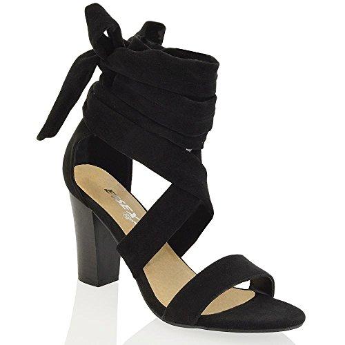 Essex Glam Scarpa Donna Tacco a Blocco Allacciatura Cinghiolo Caviglia Nero Finto scamosciato