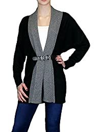 S&LU angesagte Damen Strickjacke/Überwurfjacke mit modischer Schnalle im Multi-Color-Look mit Kaschmir Größe S bis XL