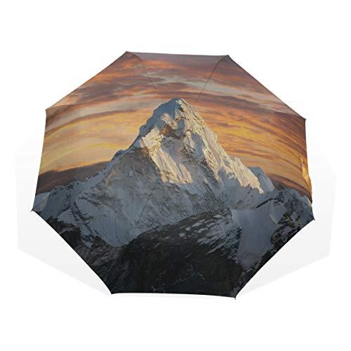Reiseschirm Peak Schnee, Felsen und scharfe Grate Anti Uv Compact 3-Fach Kunst Leichte Faltschirme (Außendruck) Winddicht Regen Sonnenschutzschirme Für Frauen Mädchen Kinder