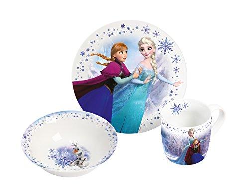 Disney Frozen 2017, 3teilig 3-teiliges Porzellanset, Porzellan, Mehrfarbig, 22.5 x 9.5 x 19.5 cm -