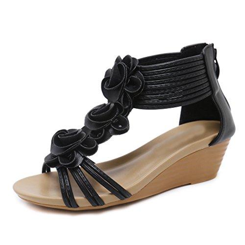 Zonlin sandali con zeppa a fiore romana da donna, scarpe da spiaggia estive