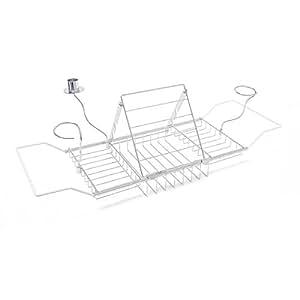 Relaxdays Badewannenablage mit Buchstütze, Kerzenhalter, max. Größe: H x B x T: 5,5 x 92 x 20 cm, silber