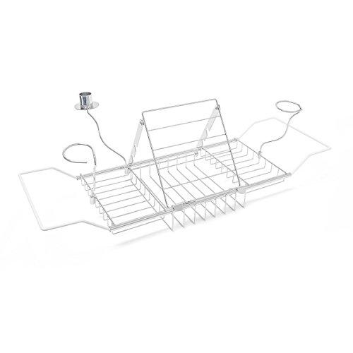 Relaxdays Badewannenablage mit Kerzenhalter 2 Gläserhaltern Buchstütze ausziehbar max.Größe HBT: 5,5 x 92 x 20 cm silber