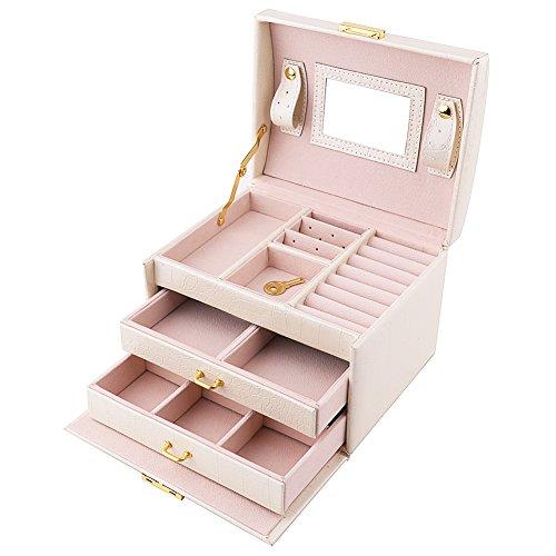 Premium Schmuckschatulle Schmuckkästchen Schmuckkasten abschließbar Kosmetikkoffer mit 2 Schubladen + Spiegel