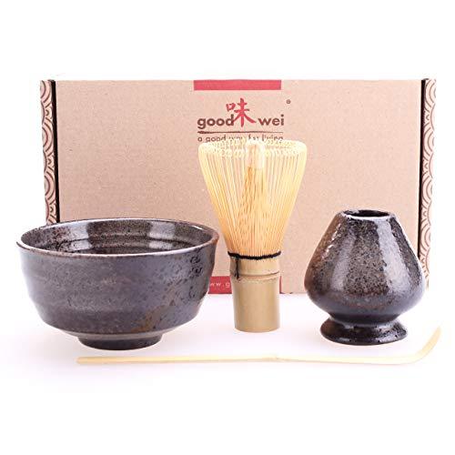 Goodwei Japanisches Matcha-Set mit Besenhalter, 4-teilig (Schwarz)