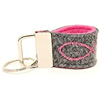 Mini Schlüsselanhänger aus Wollfilz mit Glitzer Fisch dunkelgrau/ rosa