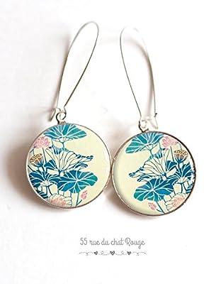 Boucles d'oreilles cabochon Japon, Asie, grande fleur bleu rose beige