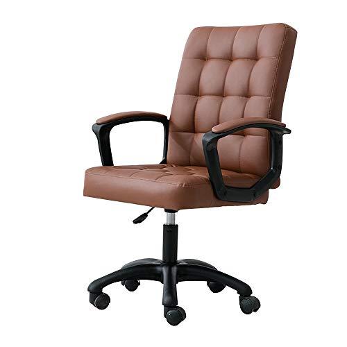 PU-Leder-Bürostuhl , Einstellbare Executive Computer Schreibtisch Stuhl Erweiterung Kissen Ergonomisches Design Hebe Drehstuhl Arbeitsstuhl (Color : Brown) (Executive Stuhl Kissen)