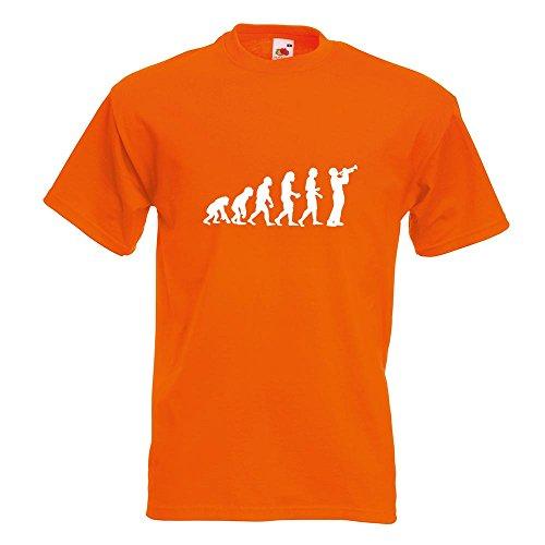 KIWISTAR - Evolution Trompetenspieler T-Shirt in 15 verschiedenen Farben - Herren Funshirt bedruckt Design Sprüche Spruch Motive Oberteil Baumwolle Print Größe S M L XL XXL Orange