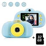 Kinderkamera mit 32GB TF-Karte,wiederaufladbare Selfie Kamera für Kinder, Kinder Digital-Camcorder mit 2,4 Zoll Bildschirm,HD 8MP/1080P Doppellinse, stoßfeste Kamera mit Silikonhülle(Blau)
