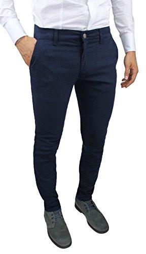 Pantaloni uomo C. Battistini Jeans blu scuro sartoriale slim fit aderente invernale casual (46)