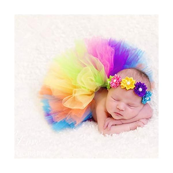 Tutu arcoiris bebé, Infant Pettiskirt Tutu Rainbow Bubble Falda con diadema para 0-6 mes Bebé recién nacido accesorios… 2