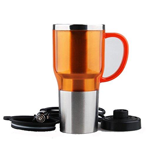 Preisvergleich Produktbild huanlebao Tragbarer Beheizter 12/24V KFZ Wasserkocher Edelstahl Tasse Auto Kaffeetasse mit Ladegerät 450ml, orange, 12V