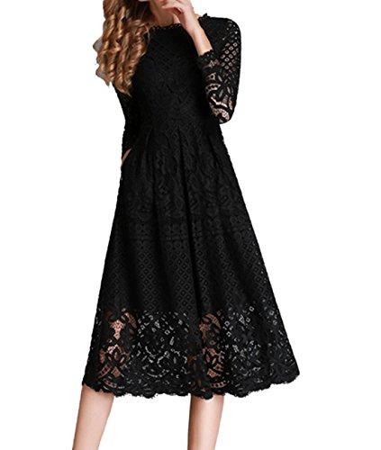 Femmes D¨¦contract¨¦e Cou Manche Longue Dentelle Patchwork Mini Robes Noir