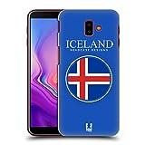Head Case Designs Isländische Fahne Fahnen Flicken Ruckseite Hülle für Samsung Galaxy J6 Plus (2018)