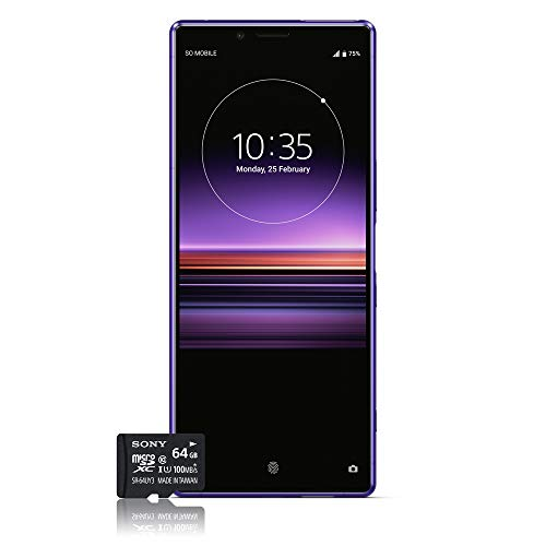 Sony Xperia 1 Smartphone Bundle (16,5 cm (6,5 Zoll) OLED Display, Dual-SIM, 128 GB Speicher, 6 GB RAM, Android 9.0) Purple + gratis 64 GB Speicherkarte [Exklusiv bei Amazon] - Deutsche Version