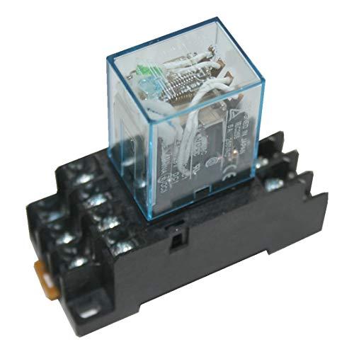B2Q Hutschienenrelais Hutschienensockel Relais grüner LED 4 Wechsler 220V DC (0018) Dc-relais