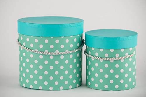 VIPOLIMEX 2er Set Blumenbox mit Punkten, Geschenkschachtel mit Goldener Kordel, Dekobox mit einfarbigem Deckel, Hutschachtel, Aufbewahrungsbox (Türkis 2er Set) Runde Box