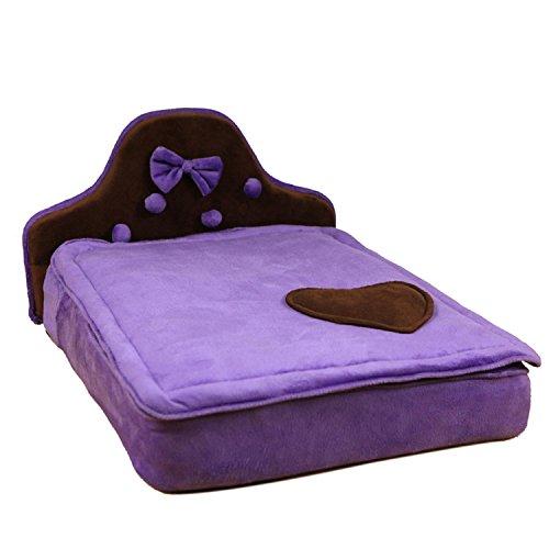 Haustierbett Weiche Matratze Für Kleine Mittlere Hundekatze Herausnehmbares Waschbares Kissen Innenkomforthaus Haus 2 Farbe , purple (Hund Haus-heizung Kleiner)