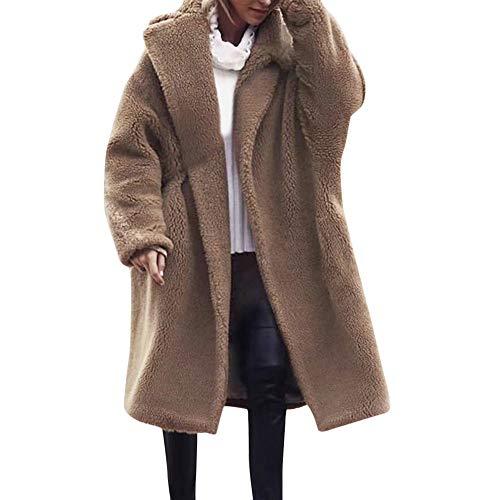 Preisvergleich Produktbild TWBB Damen Wintermantel Einfarbig Plus Size Lange Mantel Winter Faux Fur Kunstfell Warm Wintercoat Outwear Elegant Warm Jacke Strickjacke Coat