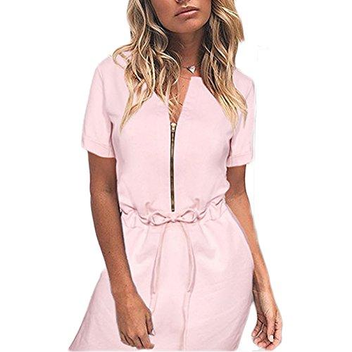 Frauen Mode Kurzarm Rundkragen Reißverschluss Spitze Loose Beiläufige Kleid Minikleid Freizeitkleid Beachwear Strandkleider Rosa