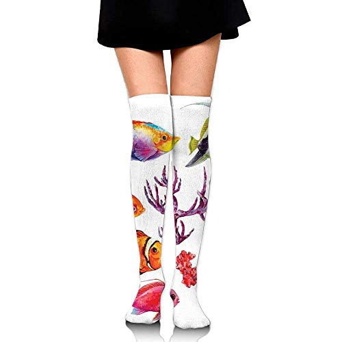 OQUYCZ Womans Illustration of Tropical Fish Seaweed Coral Algae and Jellyfish Oceanic Wild Life Breathable High Boot Socks