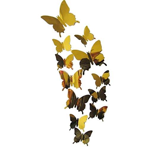 (Strung 3D Wandaufkleber Aufkleber Schmetterlinge 3D Spiegel Wandkunst Home Dekore Wandsticker Geschenk Wandtattoo Abziehbilder mit Klebepunkten Kinder Baby Schlafzimmer)
