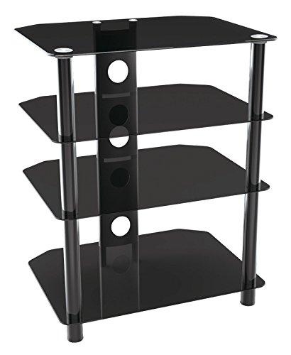 RICOO Fernsehtisch Glas Tisch TV Rack FT601B LCD TV/Hifi Möbel Fernseh-Rack Fernsehschrank TV Lowboard TV Standfuss Hifi-Schrank DVD-Regal mit 4 Ablagen in der Farbe schwarz