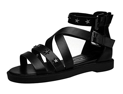fq-real-balck-friday-womens-rivets-studded-stripe-cross-flat-zipper-summer-pu-sandal-45-ukblack