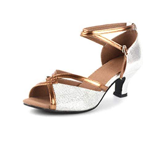 Aiweijia scarpe da ballo per le donne grandi paillettes confortevole traspirante tipo di bocca di pesce scarpe da ballo in pelle mid heel scarpe da ballo performance latine