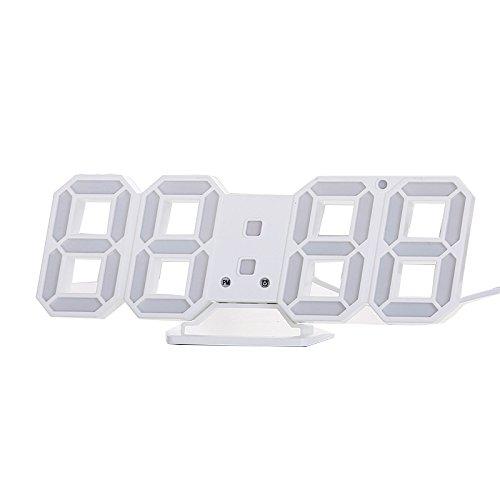 SODIAL Reloj de alarma de reloj de pared LED digital moderno de escritorio de mesa 3D...