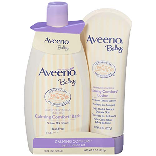 Aveeno Baby Beruhigendes Bad & Lotion Set mit natürlichem Haferextrakt, Lavendel & Vanille, 2 Stück