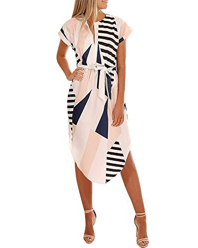 YOINS Damen Sommerkleid Lang V-Ausschnitt Maxikleider Strandkleid Strandmode, Patchwork, Gr.- EU 44/ Herstellergröße- L