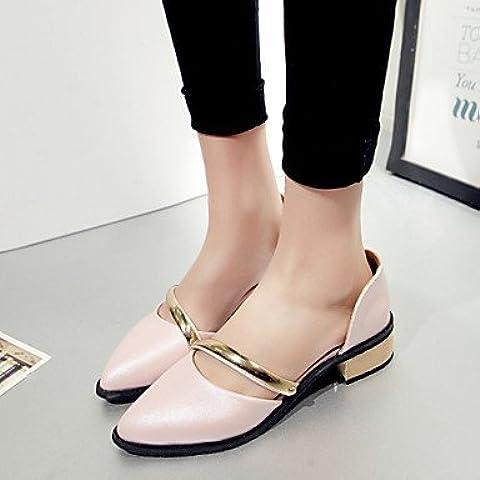 LFNLYX Scarpe Donna-Scarpe col tacco-Ufficio e lavoro / Formale-D'Orsay / A punta-Basso-Finta pelle-Nero / Blu / Rosa / Bianco , pink , us10.5 / eu42 / uk8.5 /