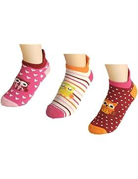 Kinder Mädchen Jungen Sneaker Socken Strümpfe Teenager Motiv Eule 3 er Set