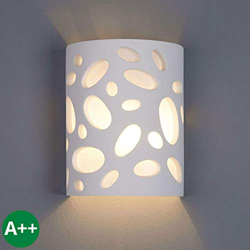 Lámpara de pared 'Hanni' Moderno en Blanco hecho de Cerámica, Arcilla, Yeso e.o. para Pasillos 1...