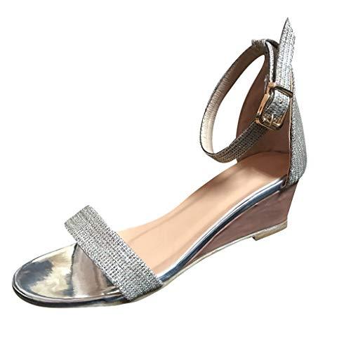 Tohole Sandalen Damen Sommer Sandaletten Flachen Frauen Flip Flop Sommersandalen Bequeme Elegante Schuhe Slope Offener Schnalle Mit RöMischen Sandalen(Silber,38 EU)
