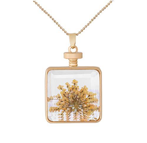 Natürliche Gelbe Blume Kristall Halskette Fashion Square Frame Getrocknete Blume Anhänger Mädchen Lieblings Goldene Glas Halskette Schmuck