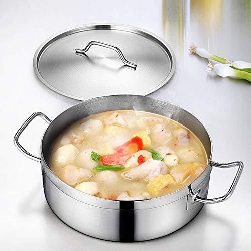 Kuizhiren1 Töpfe & Pfannen Edelstahl Suppentopf Edelstahlgriff Kochgeschirr Dutch Oven Kochen Suppe Milk Hot Pot mit Deckel, Silber, M